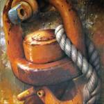 """""""A crochet"""" acrylique/toile 80x80cm © Christian LEROY 2012"""
