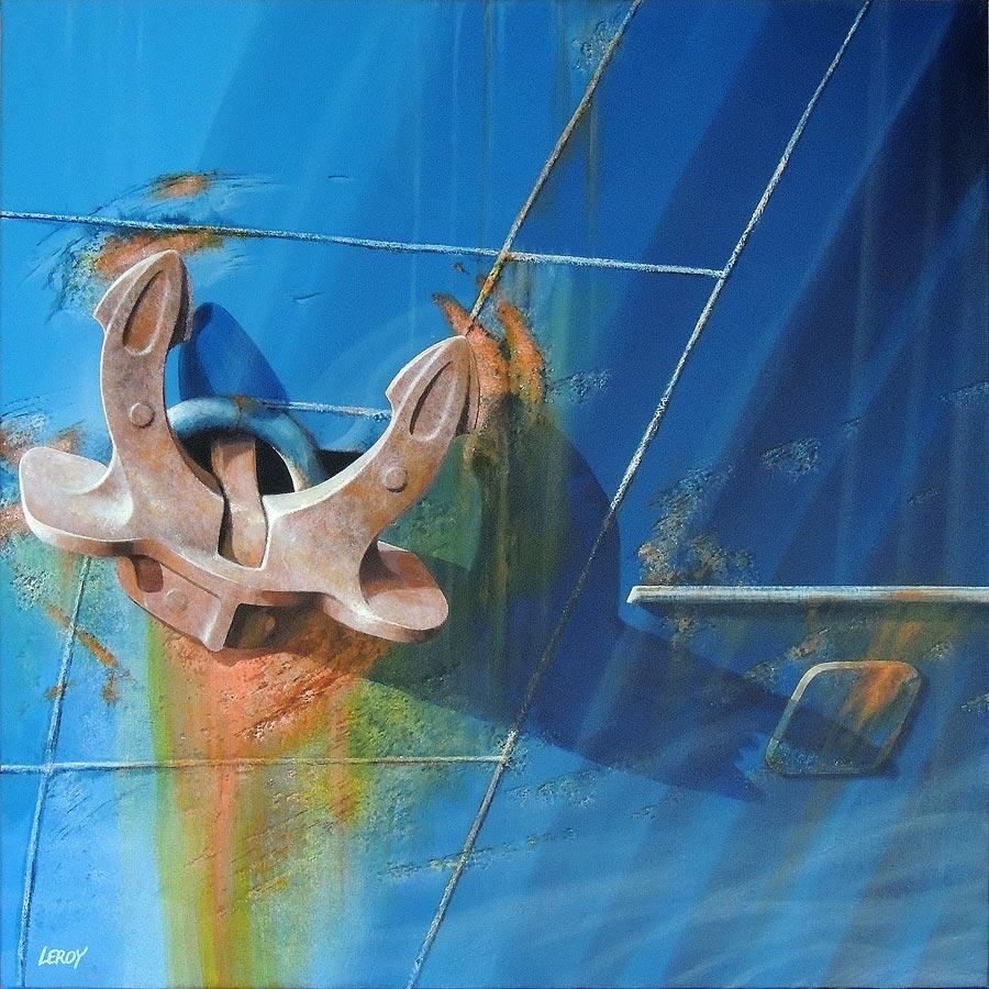 """""""Ancre bâbord"""" acrylique/toile 80x80cm © Christian LEROY 2012"""