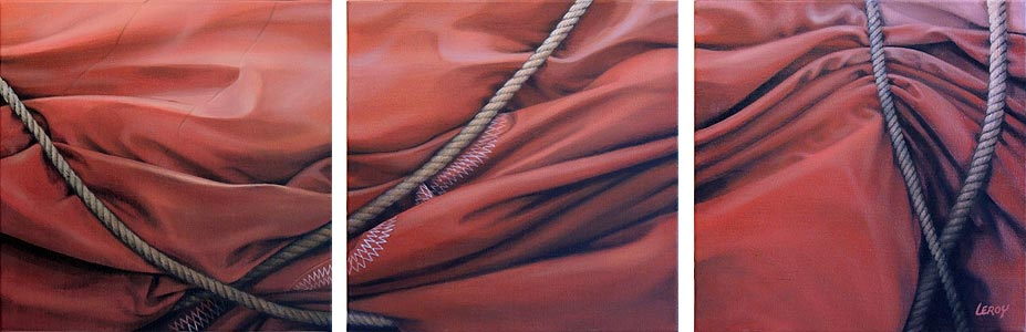 """""""Face au vent"""" acrylique/toile triptyque 120x40cm © Christian LEROY 2012"""