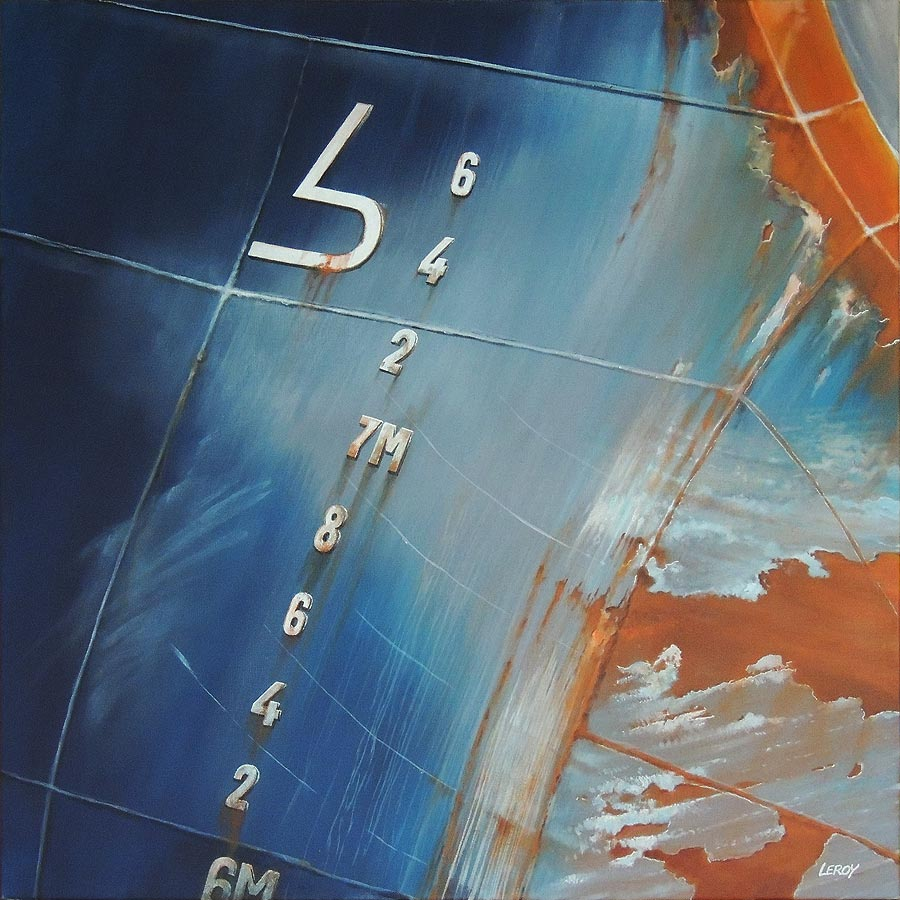"""Tirant d'eau"" acrylique/toile 80x80cm © Christian LEROY 2012"
