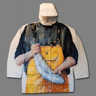 """""""Jamais bredouille"""" acrylique sur veste Guy Cotten, vendue aux enchères le 5 avril 2014 © Christian LEROY"""