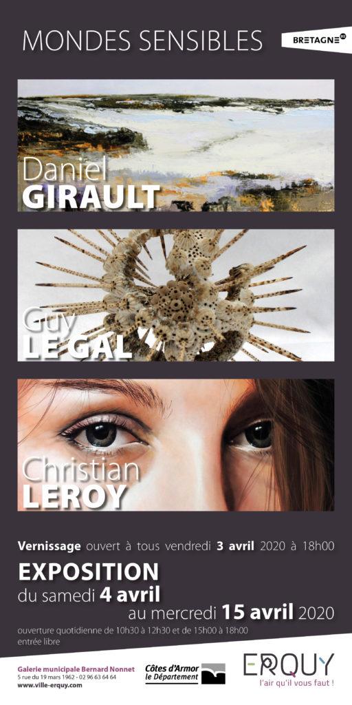 Mondes Sensibles - GIRAULT - LE GAL - LEROY - Galerie ERQUY du 4 au 15 avril 2020 - affiche