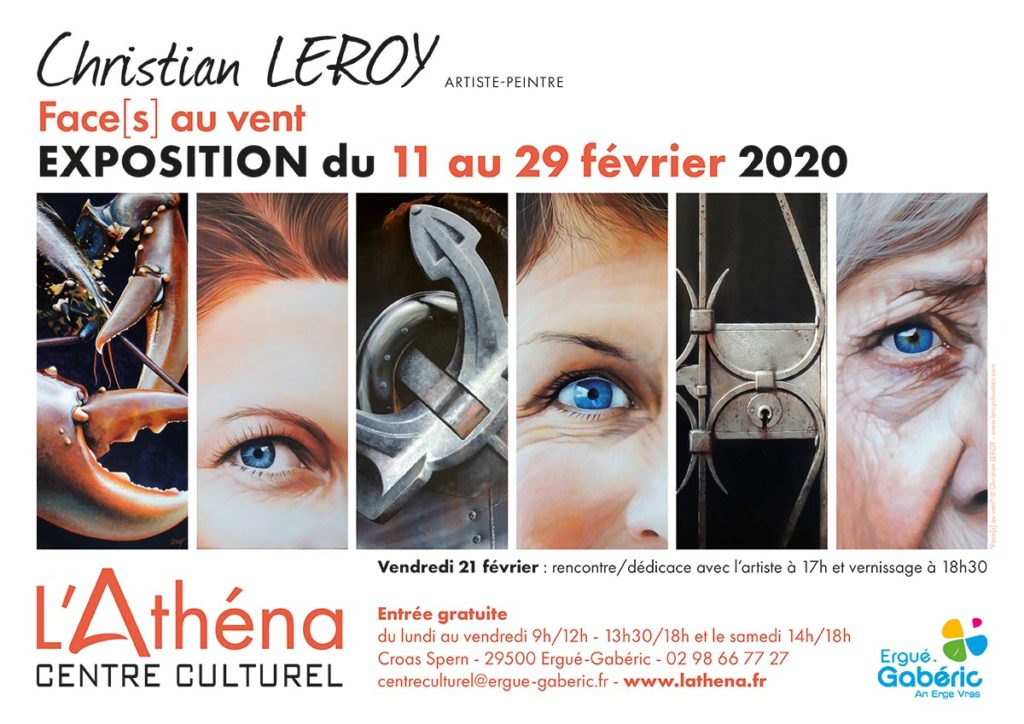 Exposition au Centre Culturel L'Athéna à ERGUÉ-GABÉRIC du 11 au 29 février 2020 - Affiche